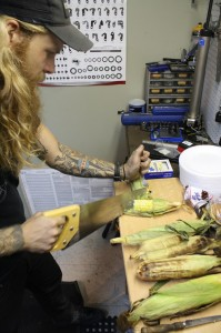 Hand built corn on the cob miters by Chicago framebuilder Jesse Hautau.